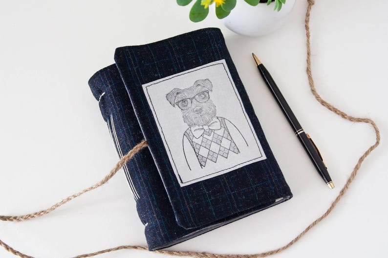 Cute Hipster Dog Journal Notebook with Wrap Closure  Great image 0