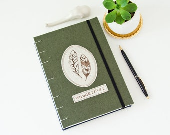 Wanderlust Travel Journal - Green Linen Unlined Journal with Handprinted Feathers - Awesome Wanderlust Gifts