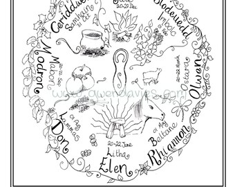Adult Colouring In PDF Download Celtic Welsh Pagan Calming Mindfulness Henna Zen Mandalas Flower Anti Stress Flowers