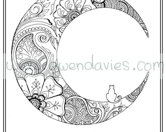 Adult Colouring In PDF Download Garden Henna Zen Mandalas Flower Anti Stress Mindfulness Flowers