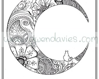 Adult Colouring In PDF Download Moon Cat Calming Mindfulness Henna Zen Mandalas Flower Anti Stress Flowers