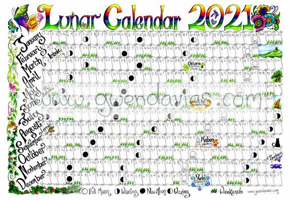 Pagan Calendar 2021 Downloadable Lunar moon calendar 2021 A4 downloadable Pagan   Etsy