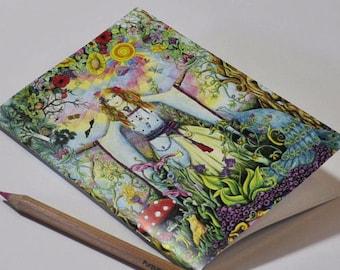 Gaia Goddess A5 blank notebook Pagan art sketchbook diary writing plain book goddess rainbow