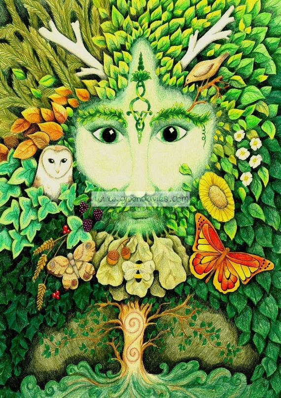 Green man blank greetings card pagan art birthday yule etsy image 0 m4hsunfo
