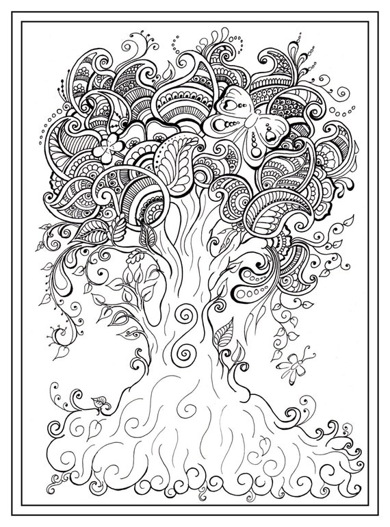 Adult Colouring In Pdf Download Tree Dragonfly Henna Zen Etsy