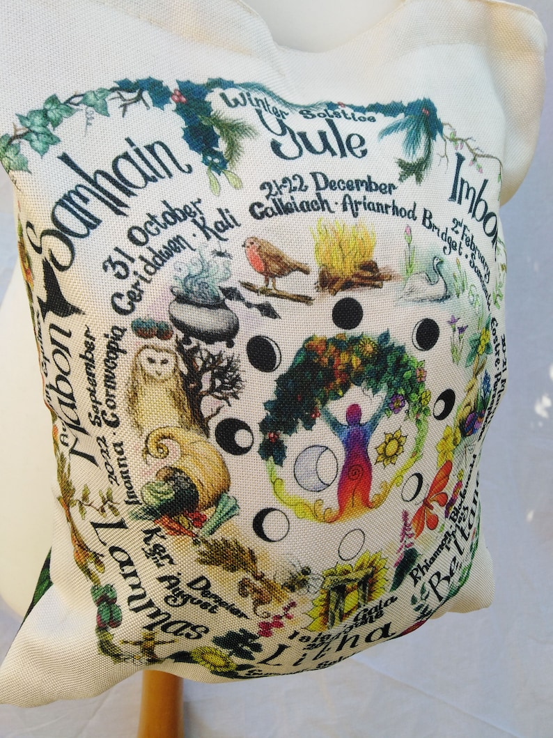 Double sided shoulder bag Wheel of The Year and Green Man Pagan Wicca art  gift