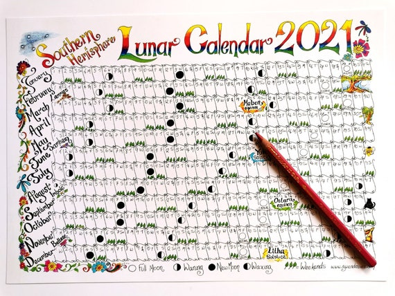 2022 Pagan Calendar.Southern Hemisphere Downloadable Lunar Moon Calendar 2021 A4 Etsy