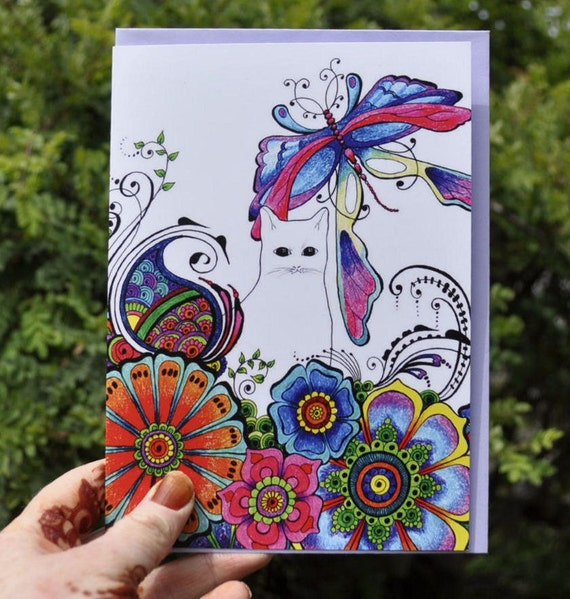 Hennaed dragonfly womens greetings birthday card drawn and printed in the UK