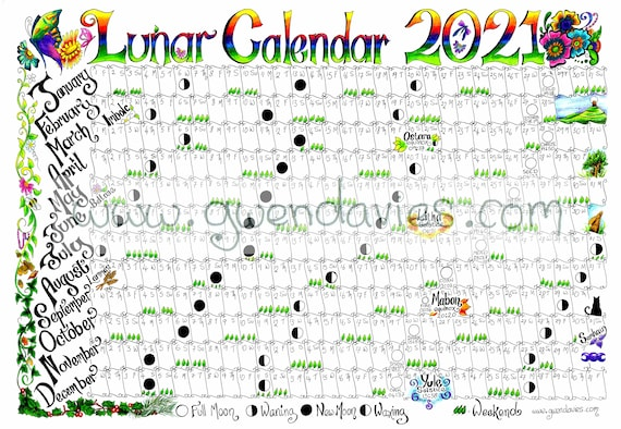 2021 PREORDER A5 Lunar Moon Desk Calendario Saluti Carta | Etsy