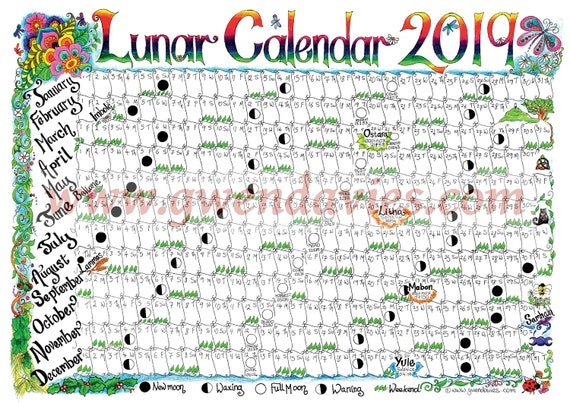 Downloadable Lunar moon calendar 2019 - A4 downloadable Pagan Wiccan  Astronomy astrology wall chart