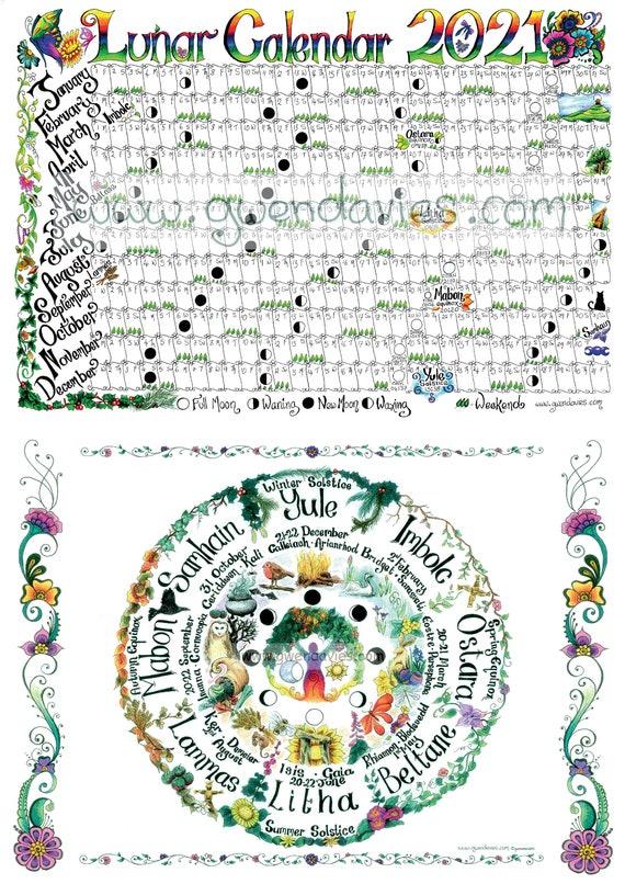 2021 A4 Lunar Moon Calendar plus Wheel Of The Year Pagan | Etsy