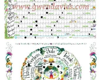 2018 Lunar Moon Calendar plus Wheel Of The Year Pagan poster set, wall chart