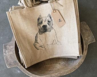 PIT BULL TOTE,Pit Bull Burlap Bag,Pit Bull Burlap Tote,Pit Bull Beach Bag,Pit Bull Dog Gift,Pit Bull Dog Gifts,Pit Bull Tote Bag,PitBull