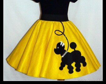"My Beautiful Bright Yellow ""Prancing"" Poodle skirt  made in Your Choice of Size and Poodle Color! Baby-Toddler,Girls,Adult!"