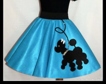 "My Beautiful Turquoise ""Prancing"" Poodle skirt  made in Your Choice of Size and Poodle Color! Baby-Toddler,Girls,Adult!"