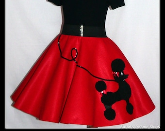 "MY Gorgeous ""Patty"" Poodle skirt custom made in your choice of Size Toddler,Girls,Adult Ruby Red with Your choice of poodle color!"