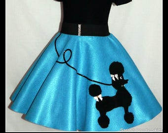 "MY Gorgeous ""Patty"" Poodle skirt custom made in your choice of Size Toddler,Girls,Adult Turquoise skirt with Your choice of poodle color!"