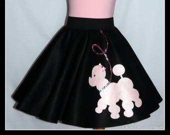 "My Beautiful Black With Pink ""Prancing"" Poodle skirt  made in Your Choice of Size and Poodle Color! Baby-Toddler,Girls,Adult!"