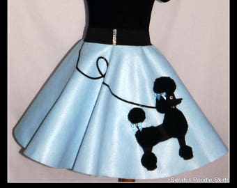 "MY Gorgeous ""Patty"" Poodle skirt custom made in your choice of Size Toddler,Girls,Adult Baby blue skirt with Your choice of poodle color!"