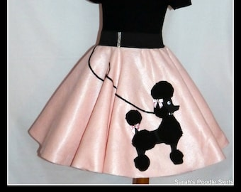"MY Gorgeous ""Patty"" Poodle skirt custom made in your choice of Size Toddler,Girls,Adult Baby pink skirt with Your choice of poodle color!"