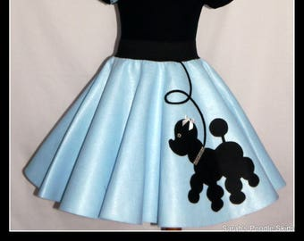 "My Beautiful Baby blue ""Prancing"" Poodle skirt  made in Your Choice of Size and Poodle Color! Baby-Toddler,Girls,Adult!"