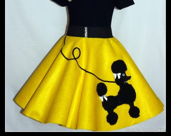 "MY Gorgeous ""Patty"" Poodle skirt custom made in your choice of Size Toddler,Girls,Adult Bright Yellow with Your choice of poodle color!"