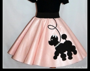 "My Beautiful Baby Pink ""Prancing"" Poodle skirt  made in Your Choice of Size and Poodle Color! Baby-Toddler,Girls,Adult!"