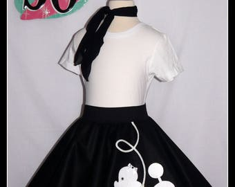 "My Beautiful Black With White ""Prancing"" Poodle skirt  made in Your Choice of Size and Poodle Color! Baby-Toddler,Girls,Adult!"