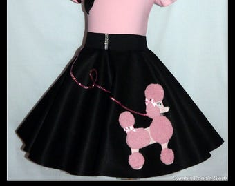 "MY Gorgeous ""Patty"" Poodle skirt custom made in your choice of Size Toddler,Girls,Adult Black and Pink!"