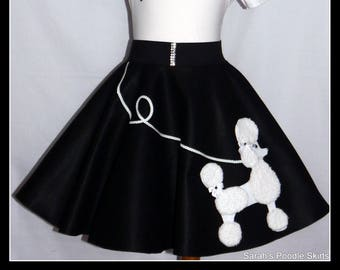"MY Gorgeous ""Patty"" Poodle skirt custom made in your choice of Size Toddler,Girls,Adult Black and White!"