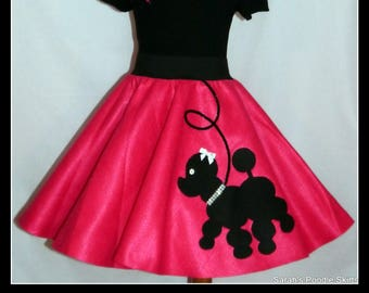 "My Beautiful Hot pink ""Prancing"" Poodle skirt  made in Your Choice of Size and Poodle Color! Baby-Toddler,Girls,Adult!"