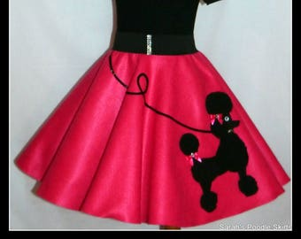 "MY Gorgeous ""Patty"" Poodle skirt custom made in your choice of Size Toddler,Girls,Adult Hot pink skirt with Your choice of poodle color!"