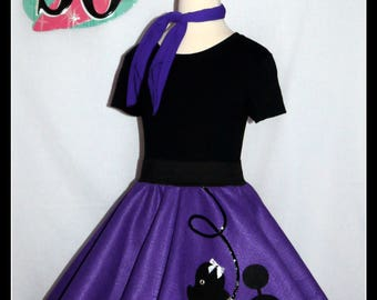 "My Beautiful Deep Lavender ""Prancing"" Poodle skirt  made in Your Choice of Size and Poodle Color! Baby-Toddler,Girls,Adult!"