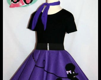 "MY Gorgeous ""Patty"" Poodle skirt custom made in your choice of Size Toddler,Girls,Adult Deep Lavender with Your choice of poodle color!"
