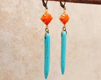 Turquoise Tusk and Orange Glass Gem Earrings