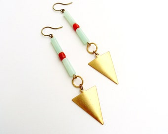 Spine & Arrow - Coral, Amazonite and Brass Arrow Earrings