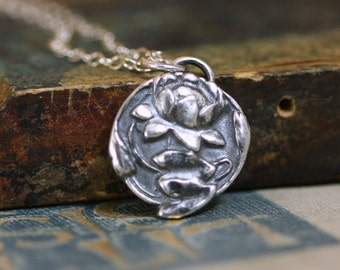 Lotus Necklace,  Buddhist Jewelry,  Sterling Silver