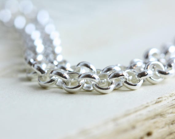Sterling Silver 17 4mm Rolo Chain For Heavy Pendant Charm 925 Rustic Oxidized or Bright Shiny Rollo Chain Belcher Chain Unisex
