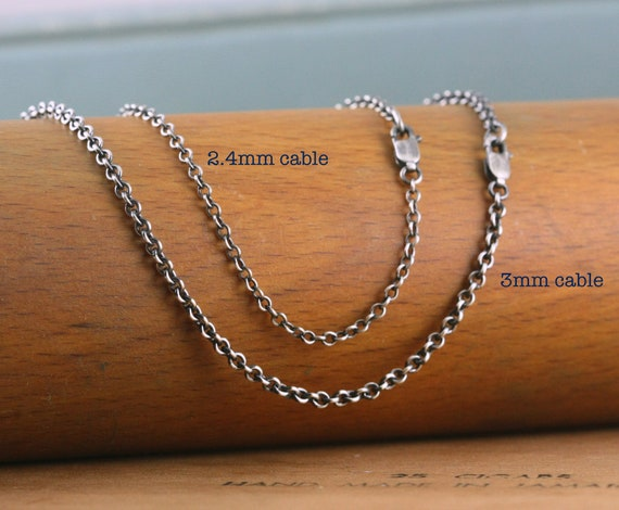 No.5 Turquoise beads bracelet with oxidized sterling silver rolo style chain