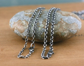 Sterling Silver Rustic Necklace Chain, All Lengths, Medium Heavy - Heavyweight  Oxidized  Bright, 2.4mm, 2.8mm