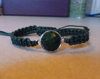 Macrame bracelet green nylon cord with green spacer