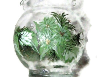 Hand Painted Holiday Floral Glass Candle Holder