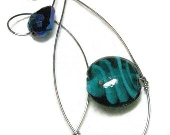 Blue Lampwork Silver Wirewrapped Pendant Necklace, Glass and Crystal Wirewrapped Pendant Necklace
