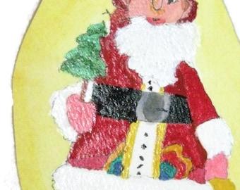 St Nick Painted Paper Ornament, Christmas Painted Ornament, Santa Ornament