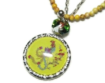 Yellow Turquoise Phoenix Necklace, Phoenix and Turquoise Pendant Necklace