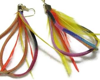Leather and Feather Earrings, Rainbow Leather with Feather Earrings