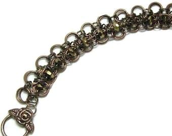 Copper Chain Maile Bracelet, Copper Bead Chain Bracelet
