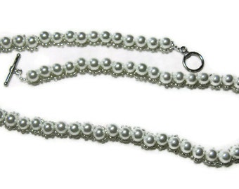 Glass Pearl Necklace, Pearl Beaded Necklace,White Pearl and Bead Necklace