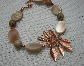 Picasso Jasper And Mother Of Pearl Bracelet, Jasper Copper Bracelet