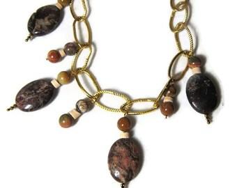Brown Spike Dangle Necklace Jasper, Brown Jasper Dangle Necklace